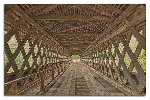 Lantern Press Atlanta, Georgia - Covered Bridge Interior - Photography A-92537 (12x18 Wood Wall Sign, Wall Decor Ready to Hang) -