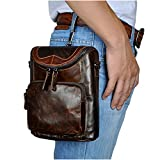 Le'aokuu Mens Genuine Leather Coffee Fanny Small Messenger Shoulder Satchel Waist Bag Pack (The 611-74 coffee)