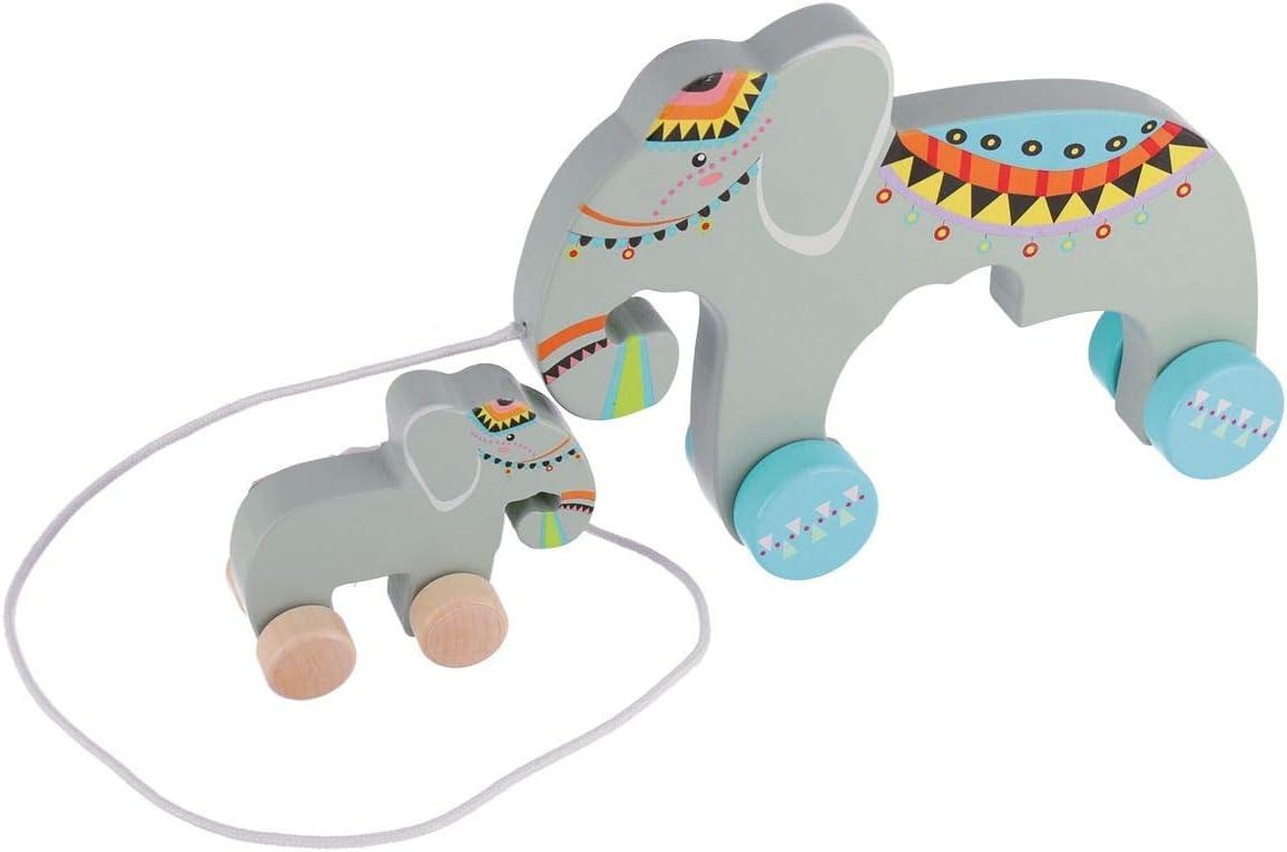 Bieco 23000077 /Él/éphant /à tirer en bois avec b/éb/é /él/éphant amovible Jouet en bois /à tirer pour enfants /à partir de 18 m Gris