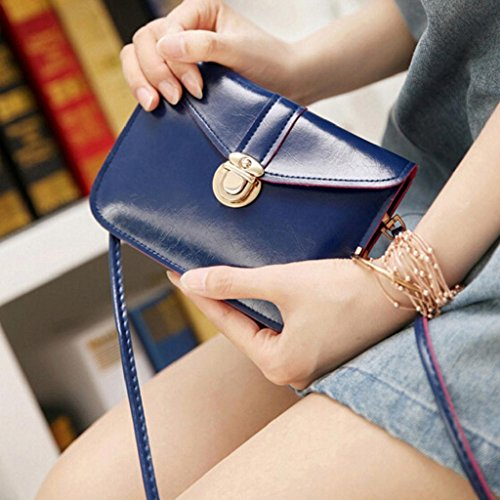 Creazrise Blue Fashion Mini Leather Purse Phone Zero Bag Handbag Bag Dark Single Shoulder gFwg7