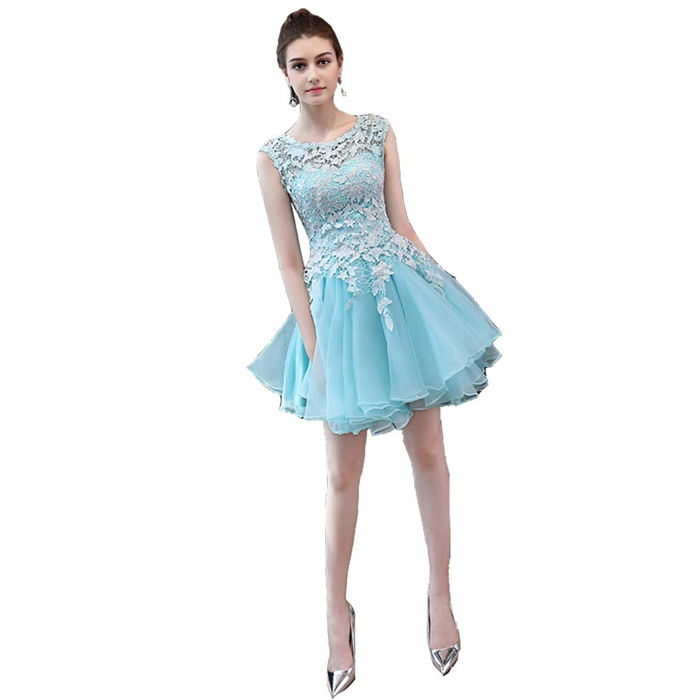 bluee Seasail 2019 Women Short Prom Party Gown Formal Dress Elegant Lace Cocktail Dresses