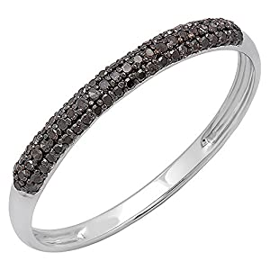 0.15 Carat (ctw) 18K White Gold Round Black Diamond Ladies Bridal Stackable Wedding Band (Size 7)