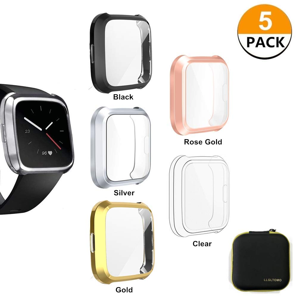 LLGLTOMO Fitbit Versa Lite Screen Protector Case, 5 Pack TPU Soft All-Around Activity Smart Watch Screen Protector Case Cover Fit for Fitbit Versa Lite Edition (5-Pack-1) by LLGLTEC