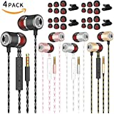 Earphones Earbuds Headphones, Balanced Bass Driven Sound, Noise Isolating, Stereo for iPhone, iPod, iPad, Samsung and Mp3 Players (Black+Golden+Silvery+Rose Gold X4pack)
