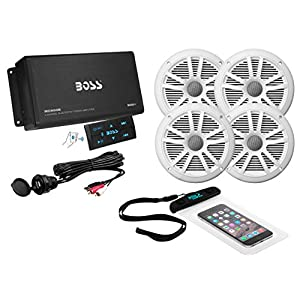 BOSS Audio ASK904B.64 Marine 500 Watt 4 Channel Amplifier / 6.5 Inch Speaker Bluetooth System, Bluetooth Remote, USB Auxiliary Interface Mount, Waterproof Pouch