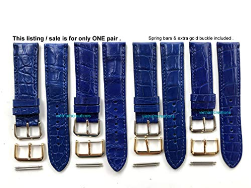 22mm Genuine CROCODILE/ALLIGATOR Skin Leather Watch Strap Band for men Handmade (BLUE Leather/BLUE Stitching) #17