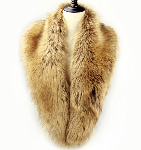 Dikoaina Extra Large Women's Faux Fur Collar for Winter Coat (100cm, Raccoon)