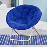 LOVE US Fancy Faux-Fur Foldable Saucer Chair with Steel Frame, 100 percent polyester upholstery, Easy to Spot Clean, Great for Lounging in Any Room, Blue + Expert Home Guide