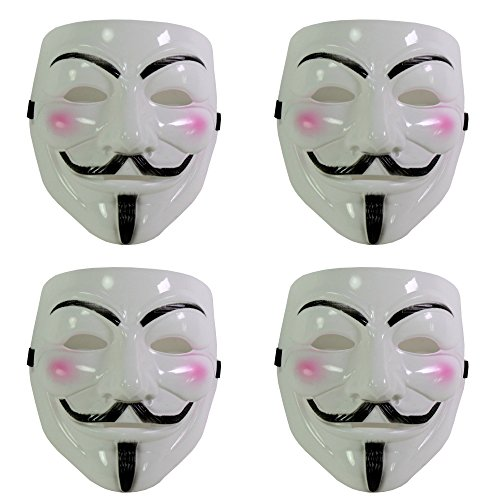 [Set of 4 White V for Vendetta Guy Fawkes Anonymous Costume Cosplay Masks] (Cosplay Costumes For Black Guys)