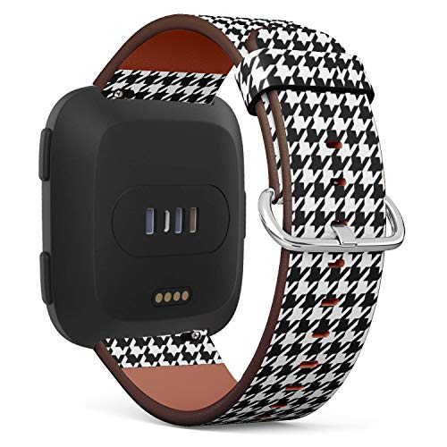 Compatible with Fitbit Versa - Quick Release Leather Wristband Bracelet Replacement Accessory Band - Houndstooth Black White