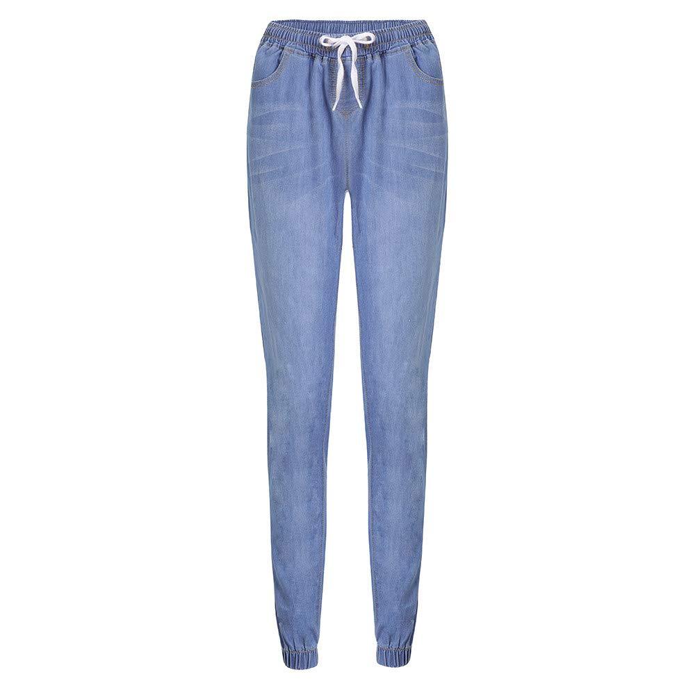 ODJOY-FAN Jeans Donna Elasticizzati Taglia Larga Abbigliamento Donna Autunno Forza Elastica Sciolto Cowboy Tempo Libero Coulisse Nove Punti Jeans