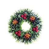 Handfly Christmas Wreath Pendant Christmas Ornament Artificial Garland Holiday Wreath Christmas Party Decor Front Door Wreath Door Hanging Christmas Tree Accessories 5-Inch