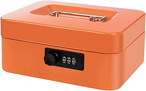 Cash Box with Combination Lock Safe Metal Money Box with Money Tray for Security Lock Box 7.87x 6.30x 3.54 Black