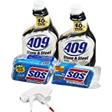 Formula 409 Stone & Steel Cleaner Spray and S.O.S All Surface Scrubber Sponge Value Pack