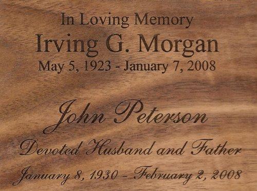 Personalized Laser Engraving for Wood Cremation Urn - Oak Cremation Wood Urn