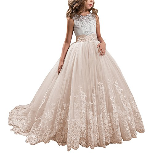 KSDN Champagne Lace Bodice Tulle Ball Gown Flower Girl Dresses Communion Gowns KN0001 (US 4, Champagne) (Girl Gown Dress Flower)