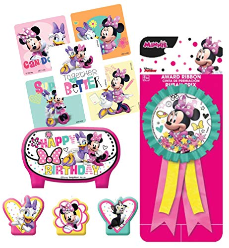 Minnie Mouse Birthday Cake Candle Set & Birthday Party Confetti Filled Ribbon for Guest of Honor! Plus Party Favor -