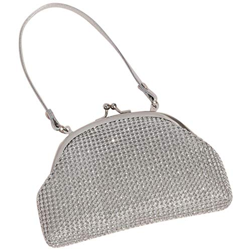 Crystal Mesh Soft Flower Girl Bag Style HBMARRIE, Silver Beaded Fold Over Clutch