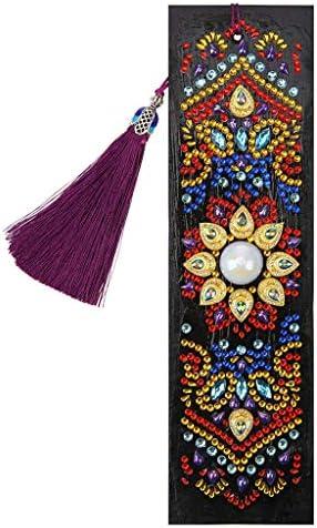 Kimnny ブックマーク、Datura DIYダイヤモンド塗装レザータッセルブックマーク特殊な形の刺繍