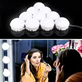 Vanity Mirror Lights, Guckmall 10 LED Dimmable Lights for Mirror, USB Power Supply and 4.82M Hidden Adjustable Length, 7000K Dimmable Daylight White for Makeup Dressing Table