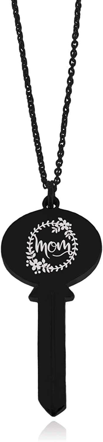 Tioneer Stainless Steel Mom Floral Wreath Oval Head Key Charm Pendant Necklace