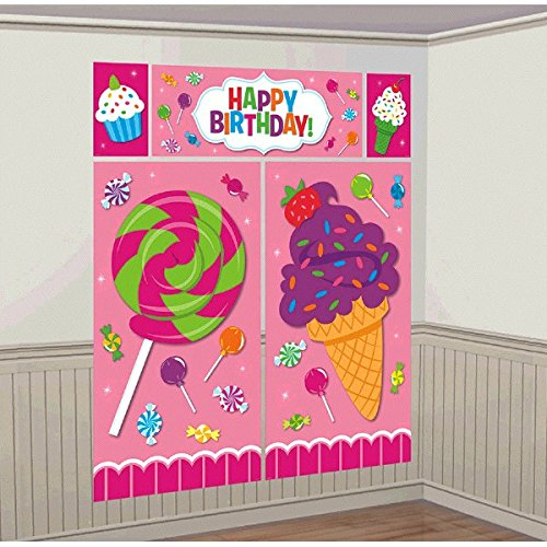 amscan Candy Land Birthday Party Sweet Shop Scene Setters5-Piece Wall Decorating Kit, Multicolor, -