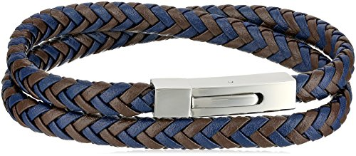 Men's Two Tone Leather Stainless Steel Push Lock, Wrap Bracelet by Amazon Collection