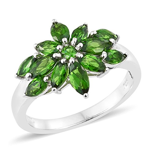 925 Sterling Silver Platinum Plated 2.4 Cttw Marquee Chrome Diopside Ring Size 7 - Designer Diopside Ring