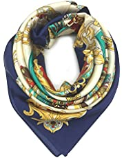 YOUR SMILE Silk Like Scarf Women's Fashion Pattern Large Square Satin Headscarf