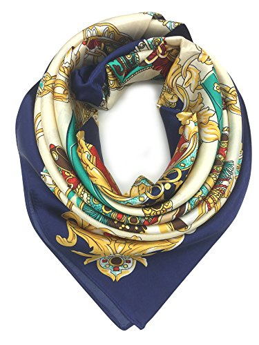 YOUR SMILE Silk Like Scarf Women's Fashion Pattern Large Square Satin Headscarf (Saddle/Chain) - Neck Drape Silk