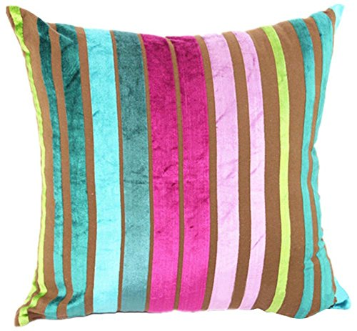 YJ Bear Colorful Striped Panne Velvet Pillow Case European Vintage Soft Cushion Cover Standard Size Cushion Sham Decorative Body Cushion Protector With Invisible Zipper Blue 20