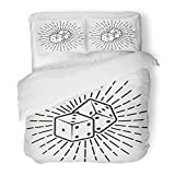 Emvency Bedding Duvet Cover Set Twin (1 Duvet Cover + 1 Pillowcase) Badge Dice with Rays Monochrome in Vintage Style White Black Burst Casino Craps Cube Hotel Quality Wrinkle and Stain Resistant