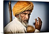 Scott Stulberg Premium Thick-Wrap Canvas Wall Art Print entitled Camel owner with turbin in Pushkar, Rajistan, India