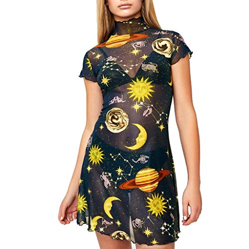 Saymany 2019 Womens Short Sleeve Stand Collar with Angel Print Hip Dress Floral Sleeve Angel Printed Short Mini Party Black