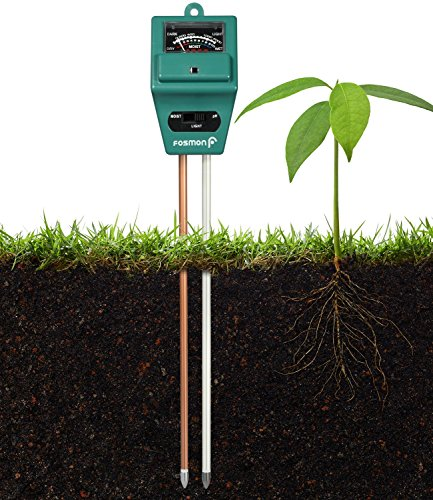 Soil Tester Meter, Fosmon 3-in-1 pH Meter, Soil Sensor for Moisture, Light, & pH Level Measurement for Growning Garden, Lawn, Farm, Plants, Flowers, Vegetable, Herbs & More