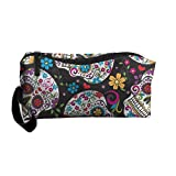 Portable Travel Storage Bags Sugar Skulls Colored Clutch Wallets Pouch Coin Purse Zipper Holder Pencil Bag,kits Medicine And Makeup Bags