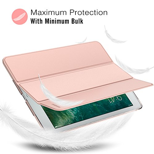 Large Product Image of MoKo Case for iPad 9.7 2018/2017 - Slim Lightweight Smart Shell Stand Cover with Translucent Frosted Back Protector for Apple iPad 9.7 Inch (iPad 5, iPad 6), Rose Gold (Auto Wake/Sleep)