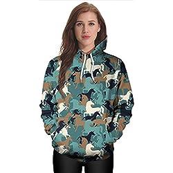 Thenice Women's Long Sleeve Hoodies Sweatshirts (M, Camouflage horse)
