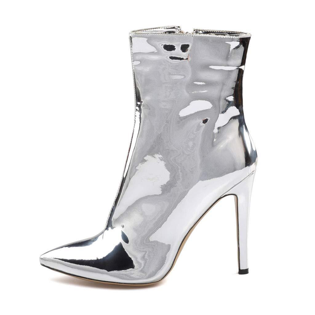 Frauen Spiegel Lackleder High Stiletto Heels Stiefeletten Wies Kurze Kurze Kurze Stiefel Große Größe Seitlichem Reißverschluss Rutschfeste Warme Wasserdichte Kleid Party Schuhe e4618c