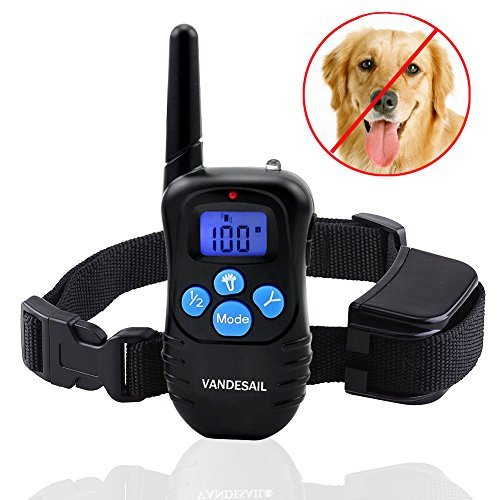 Dog Shock Collar, VANDESAIL Dog Training Collars Rechargeable and Rainproof with Wireless LCD Digital E-Collar With Safe Beep Shock and Vibration/ Remote Control (Blue Light, (20s Large Bulb)