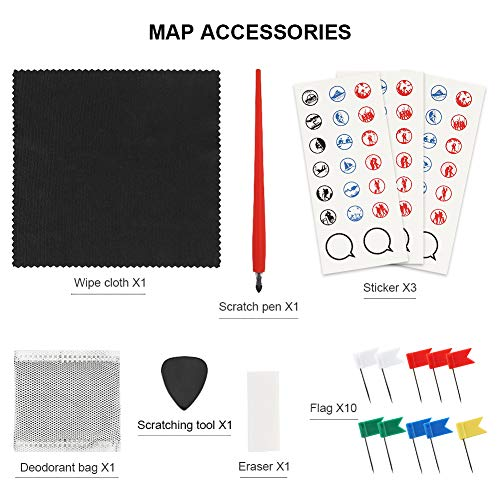 """Scratch Off Map of The United States, Merssyria Scratch USA Travel Map Wall Poster with Scratching Tools, Flag Pins, Stickers, Deluxe Gift for Traveler 24"""" x 17"""" by Merssyria (Image #6)"""
