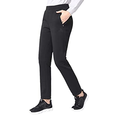 MOVE BEYOND Womens Warm Sherpa Lined Sweatpants and Lightweight Joggers with Pockets 2 Type Lounge Pants with Drawstring
