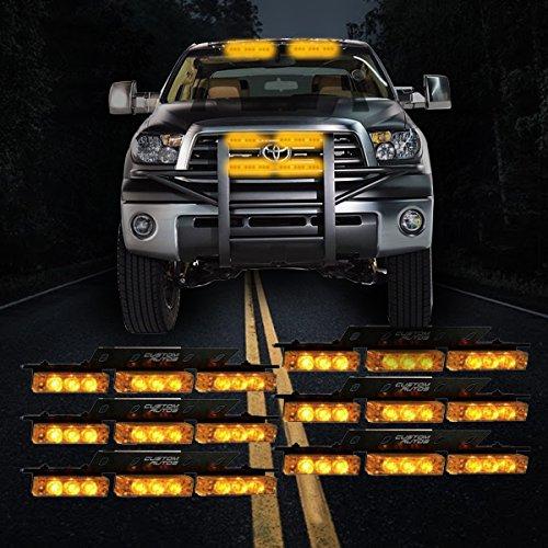 Custom Autos 54X LED Emergency Service Vehicle Deck Grill Warning Light - 1 Set Ultra Bright Amber LED Emergency Warning Use Flashing Strobe Lights Bar (Led Strobes Firefighter)