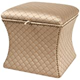 Jennifer Taylor Home Jan Collection Modern Turk Cap Geometric Design Hand Tufted with Decorative Trim and Embellishments Square Ottoman, Multicolor/Brown/Gold