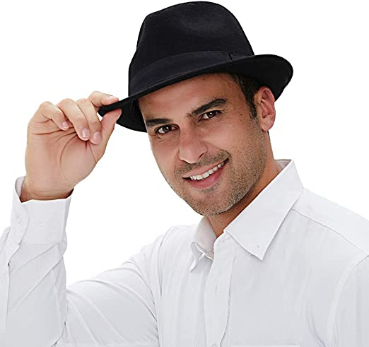 Trilby Snap Wide Brim Vintage Style Dress Hat KYEYGWO Fedora Hat Fashion Felt Gangster Hats for Men and Women