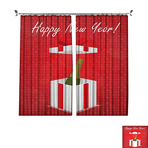 Drapes W108 x L108 Thermal Insulated Blackout CurtainNew-Year-Greeting-Card-Gift-Box-with-Champagne-Red-Background ()