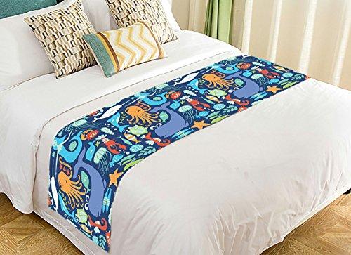 NNBZ Custom Underwater World Sea Life Ocean Animals Fish Coral Bed Runner Cotton Bedding Scarf Bedding Decor 20x95 inches by NNBZ