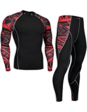 HOTIAN Mens Compression Tights and Shirts Long Sleeve Quick Dry Running Fitness Suits