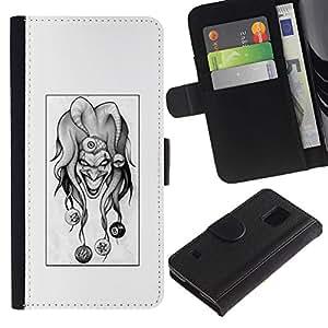 KLONGSHOP // Tirón de la caja Cartera de cuero con ranuras para tarjetas - Evil Joker B & W - Samsung Galaxy S5 V SM-G900 //