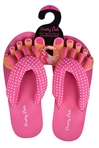 (Pretty Pedi Super Lightweight Brand Pedicure Sandals with Toe Separator Feature (Large, Pink/White Polka Dot))